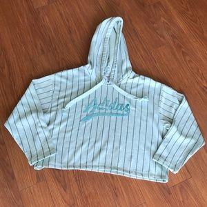 Adidas Originals Teal Midriff Hoodie Sweater Large